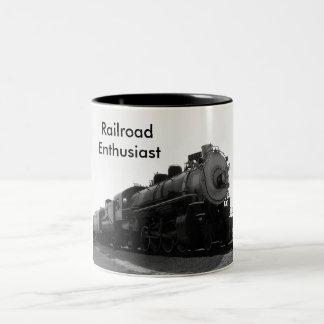 Entusiasta da estrada de ferro caneca de café em dois tons