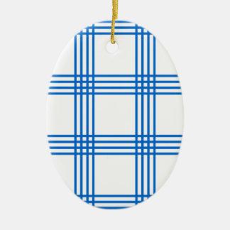 Envelope azul da cozinha ornamento de cerâmica oval
