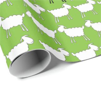 Envoltório verde preto e branco dos carneiros do papel de presente
