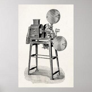 Equipamento velho da cinematografia da câmera de pôster