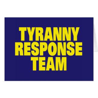 Equipe da resposta da tirania cartão de nota