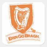 Erin vai Bragh (a laranja da harpa) Adesivo Quadrado