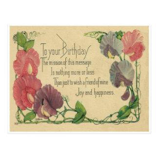 Ervilhas doces do aniversário do vintage cartão postal