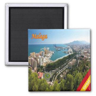 ES - Espanha - panorama de Malaga Ímã Quadrado
