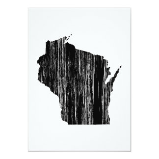 Esboço afligido do estado de Wisconsin Convite 12.7 X 17.78cm