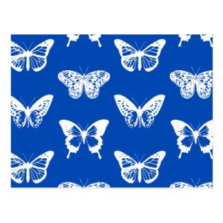 Esboço, azuis cobaltos e branco da borboleta cartão postal
