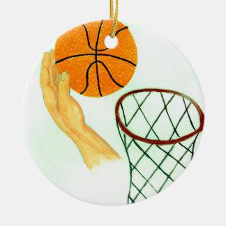 Esboço da bola do basquetebol ornamento de cerâmica redondo