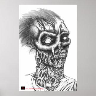 Esboço da caneta do BIC do zombi Rotting - preto e Pôster