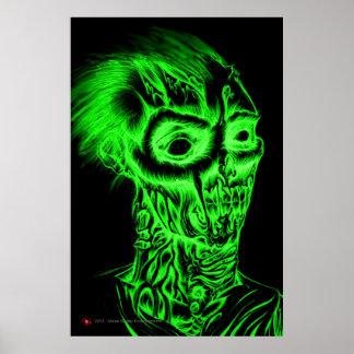 Esboço da caneta do BIC do zombi Rotting - verde e Pôster