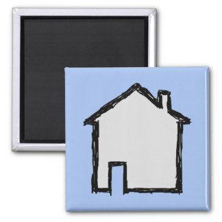 Esboço da casa. Preto e azul Imãs De Geladeira