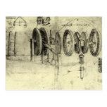 Esboço da engenharia de uma roda por Leonardo da V Cartão Postal
