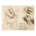 Esboço do ancião e da água por Leonardo da Vinci Cartões Postais