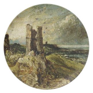 Esboço do castelo de Hadleigh (recto) (óleo em mil Pratos