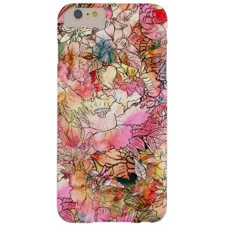 Esboço floral do abstrato do teste padrão da capa barely there para iPhone 6 plus