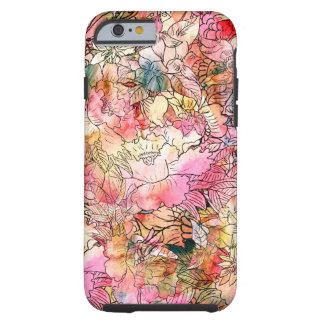 Esboço floral do abstrato do teste padrão da capa tough para iPhone 6