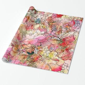 Esboço floral do abstrato do teste padrão da papel de presente