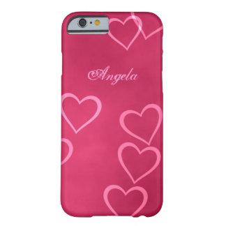 Esboços cor-de-rosa do coração capa barely there para iPhone 6