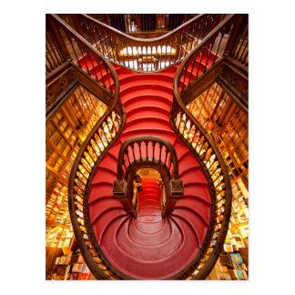 Escadaria vermelha ornamentado, Portugal Cartão Postal