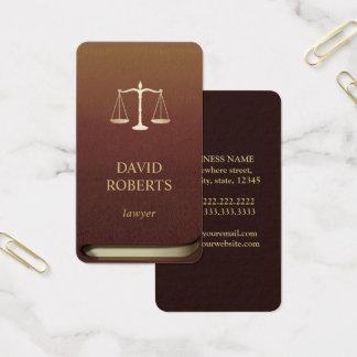 Escala do ouro do advogado do livro de lei cartão de visitas
