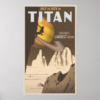 Escalada no titã, uma lua de Saturn Poster