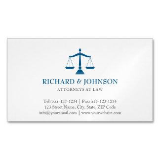 Escalas azuis da empresa de advocacia do cartão de visitas magnético