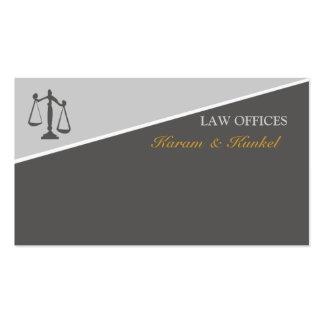 Escalas da lei e da justiça dos advogados de cartão de visita