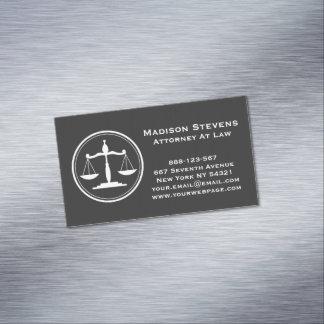 Escalas de justiça do advogado do advogado cartão de visitas magnético