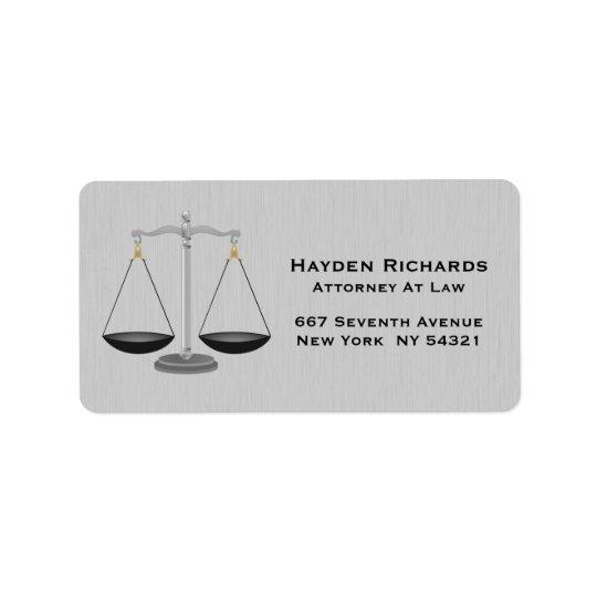 Escalas de justiça do advogado do advogado etiqueta de endereço