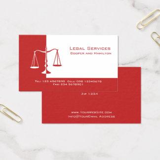 Escalas do advogado de justiça cartão de visitas