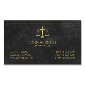 Escalas do advogado do advogado do ouro de justiça cartão de visitas magnético