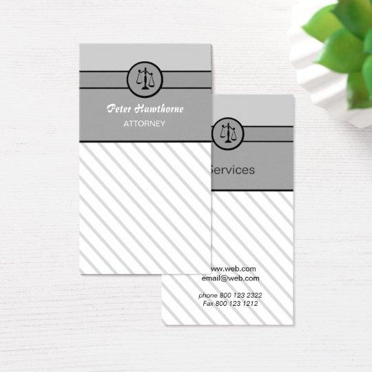 Escalas elegantes de justiça do advogado do cartão de visitas
