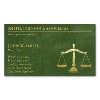 Escalas verdes luxuosas do advogado do olhar do cartão de visitas magnético