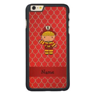 Escalas vermelhas personalizadas do dragão do capa para iPhone 6 plus de carvalho, carved®