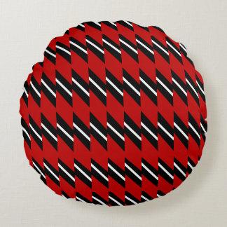 Escarlate do teste padrão preto e branco do Weave Almofada Redonda