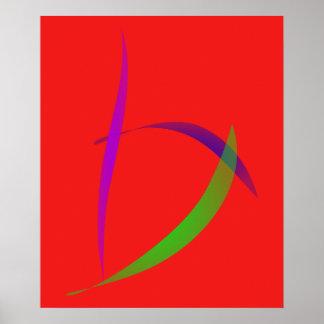 Escarlate independente da arte abstracta pôsteres