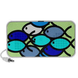 Escola de símbolos cristãos dos peixes - azul - caixinha de som para mp3