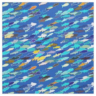 Escola dos peixes, azul escuro, brancos, turquesa tecido