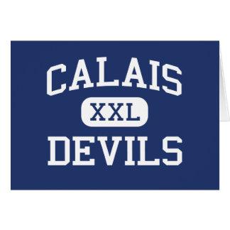Escola secundária Calais Maine dos diabos de Cartão