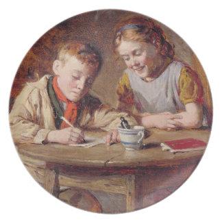 Escrevendo uma letra (o óleo no painel) louça de jantar