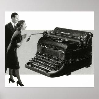 Escritório para negócios do vintage, máquina de poster