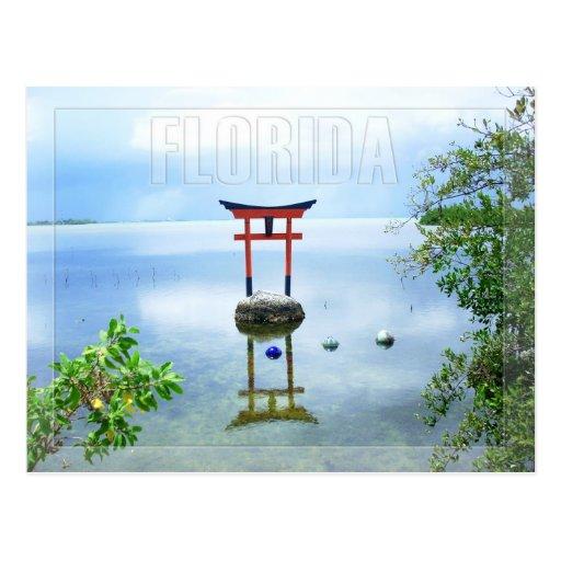 Escultura da água nas chaves de Florida Cartoes Postais
