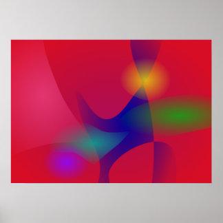 Escuro - arte abstracta vermelha posteres