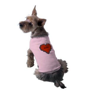 Escuro - coração vermelho cercado pelo monograma camisa sem mangas para cachorro