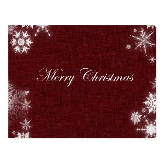 Escuro - Feliz Natal vermelho com flocos de neve Cartão Postal
