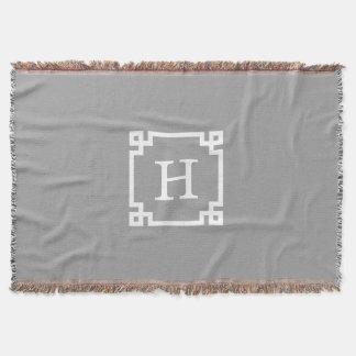 Escuro - monograma inicial chave grego branco throw blanket