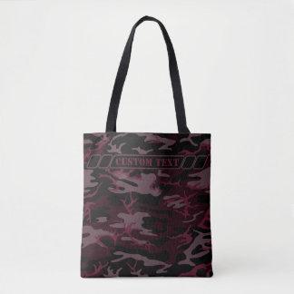 Escuro - o bolsa vermelho de Camo com texto feito
