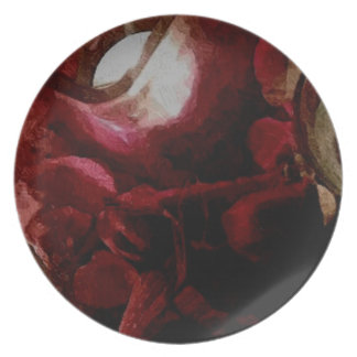 Escuro - pintura a óleo vermelha da luz de vela prato de festa