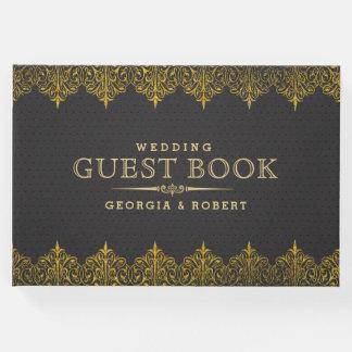 Escuro - quadro cinzento do ouro do couro do livro de visitas