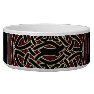 Escuro - vermelho, ouro e nó celta metálico preto tijela para água para cachorros