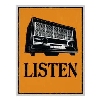 Escute: Poster de rádio retro da arte